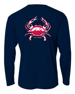"Navy Youth Crab ""Reel Crabby"" Long Sleeve Performance Dry-Fit Shirts with Sun Protection by Reel Fishy Apparel"