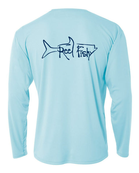 Youth Performance Dry-Fit Tarpon Fishing Shirts with Sun Protection by Reel Fishy Apparel - Long Sleeve Pastel Blue
