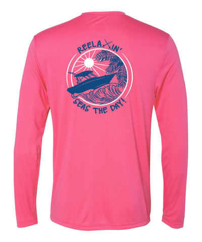 Pink Reelaxin' Performance Dry-Fit Fishing Long Sleeve Shirts, 50+ UPF Sun Protection  - Reel Fishy Apparel