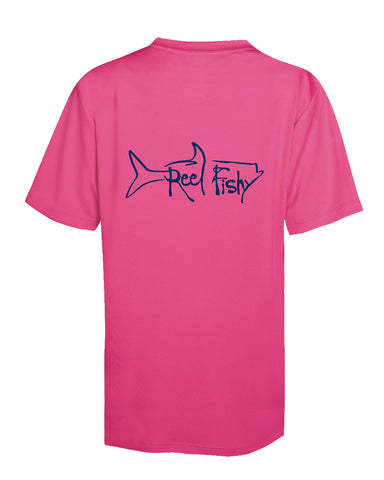 Youth Performance Dry-Fit Tarpon Fishing Shirts with Sun Protection by Reel Fishy Apparel - Short Sleeve Pink