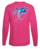 Octopus Performance Dry-Fit Long Sleeve - Pink w/Lt Blue logo