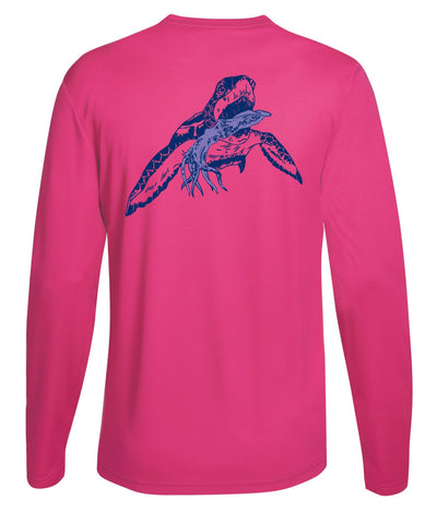 Turtle with Squid Performance Fishing Dry-Fit Long Sleeve with Sun Protection - Pink