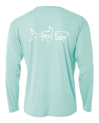 Youth Performance Dry-Fit Tarpon Fishing Shirts with Sun Protection by Reel Fishy Apparel - Long Sleeve Seagrass
