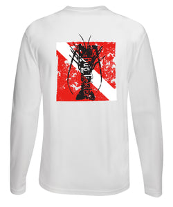 "Lobster Performance Dry-Fit Fishing shirts with Sun Protection - ""Bug Tickler"" Dive Logo - White Long Sleeve"