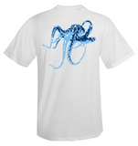 Octopus Performance Dry-Fit Short Sleeve - White w/Lt Blue logo