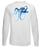 Octopus Performance Dry-Fit Long Sleeve - White w/Lt Blue logo