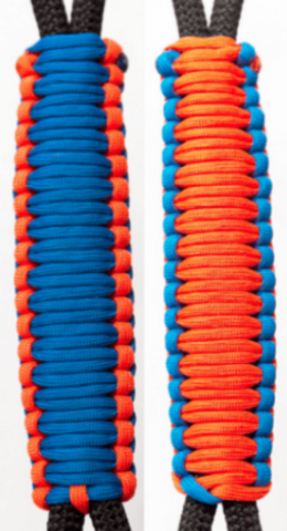 C001C012 - Neon Orange/Royal Blue Handle - Paracord Handmade Handles for Stainless Steel Tumblers - Made in USA!