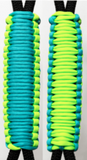 Bright Neon Green & Turquoise C023C015 - Paracord Handmade Handles for Stainless Steel Tumblers - Made in USA!