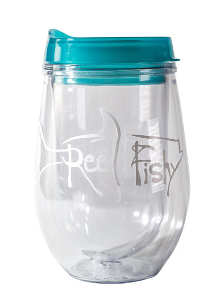 Bev2Go Acrylic Wine Insulated Stemless Tumbler - Aqua Lid with White Reel Fishy Tarpon Logo