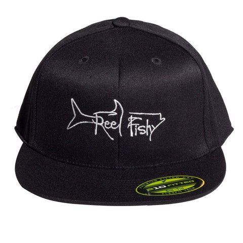 FlexFit Flat Bill Reel Fishy Tarpon Logo Hat - Black