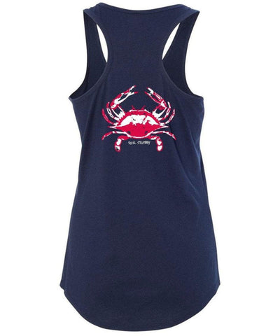 "Ladies Blue Crab ""Reel Crabby"" Racerback Tank - Navy"