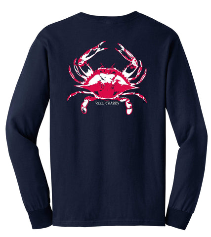 Reel Crabby Cotton Long Sleeve - Navy
