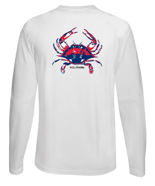 American Blue Crab -Reel Crabby Performance Dry-fit Long Sleeve White