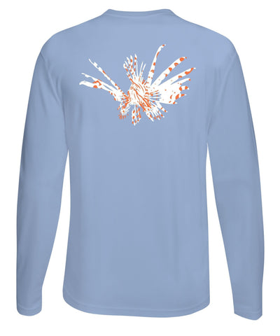 Lionfish Performance Dry-Fit Fishing Sun Protection shirts-Light Blue