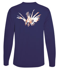 Lionfish Performance Dry-Fit Fishing Sun Protection shirts-Navy