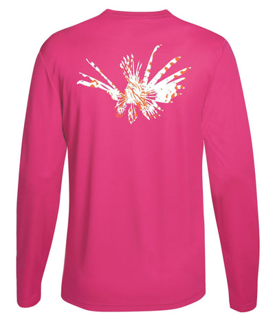 Lionfish Performance Dry-Fit Fishing Sun Protection shirts-Pink