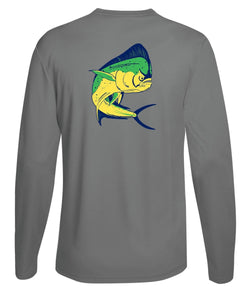 Mahi Fishing Performance Dry-Fit Long Sleeve Gray Shirt