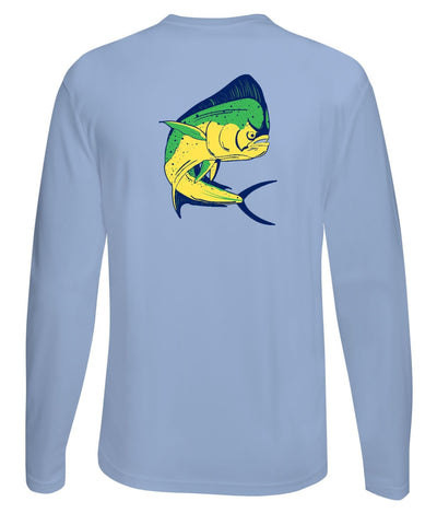 Mahi Fishing Performance Dry-Fit Long Sleeve Light Blue Shirt