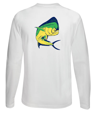 Mahi Fishing Performance Dry-Fit Long Sleeve White Shirt