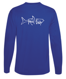Performance Dry-Fit Tarpon Fishing long sleeve shirts with Sun Protection by Reel Fishy in Royal Blue