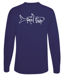 Performance Dry-Fit Tarpon Fishing long sleeve shirts with Sun Protection by Reel Fishy in Navy