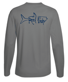 Performance Dry-Fit Tarpon Fishing long sleeve shirts with Sun Protection by Reel Fishy in Gray