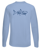 Performance Dry-Fit Tarpon Fishing long sleeve shirts with Sun Protection by Reel Fishy in Lt. Blue