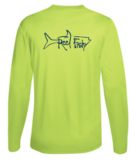 Performance Dry-Fit Tarpon Fishing long sleeve shirts with Sun Protection by Reel Fishy in Neon Green