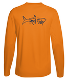Performance Dry-Fit Tarpon Fishing long sleeve shirts with Sun Protection by Reel Fishy in Neon Orange