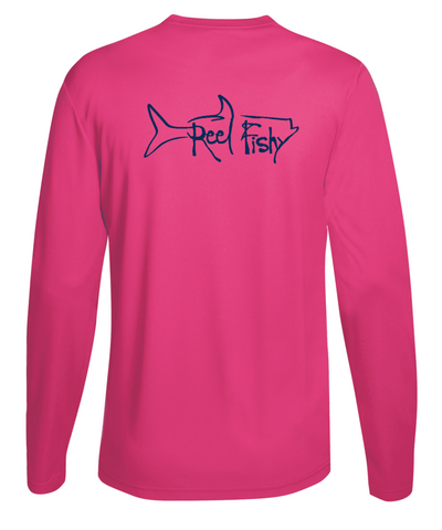 Performance Dry-Fit Tarpon Fishing long sleeve shirts with Sun Protection by Reel Fishy in Pink