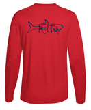 Performance Dry-Fit Tarpon Fishing long sleeve shirts with Sun Protection by Reel Fishy in Red