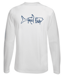 Performance Dry-Fit Tarpon Fishing long sleeve shirts with Sun Protection by Reel Fishy in White