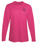 Performance Dry-Fit Tarpon Fishing long sleeve shirts with Sun Protection by Reel Fishy in Pink (front)