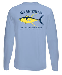 Reel Fishy Raw Bar Tuna Performance Dry-Fit Long Sleeve - Lt. Blue