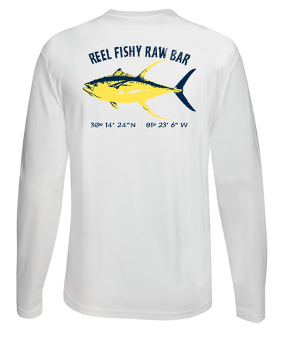 Reel Fishy Raw Bar Tuna Performance Dry-Fit Long Sleeve - White