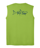 Performance Sleeveless Reel Fishy Tarpon Tee - Lime Green