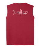 Performance Sleeveless Reel Fishy Tarpon Tee - Red