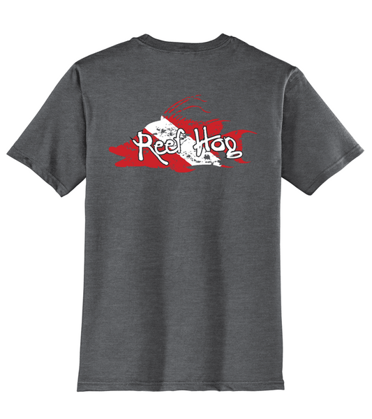 "Hogfish T-shirt with ""Reef Hog"" Dive Logo -Charcoal Reel Fishy Fishing Tee"