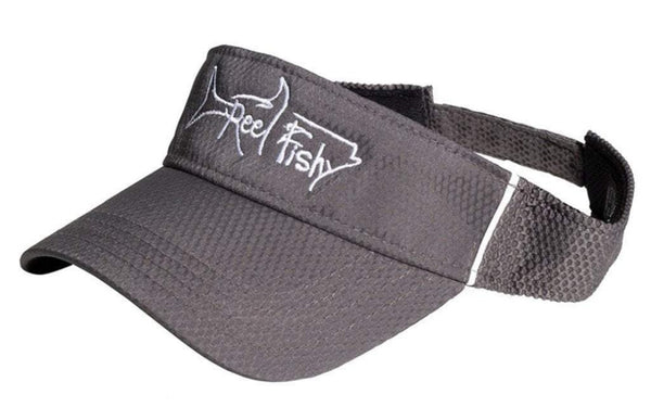 Performance Visors with Reel Fishy Tarpon Logo - Gray