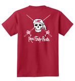 Youth Reel Fishy Pirate Skull & Rods t-shirt - Red
