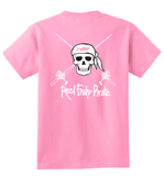 Youth Reel Fishy Pirate Skull & Rods t-shirt - Candy Pink