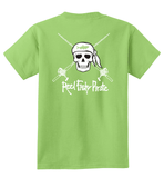 Youth Reel Fishy Pirate Skull & Rods t-shirt - Lime Green