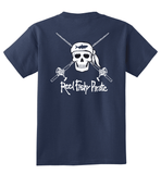 Youth Reel Fishy Pirate Skull & Rods t-shirt - Navy