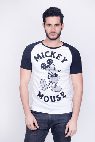 Disney Playera Mickey Mouse Blanco- Negro Hombre