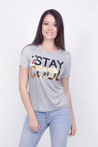 Disney Playera Stay Cool Gris Mujer