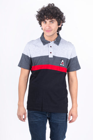Disney Playera Polo de Mickey Mouse Gris/ Negro Hombre