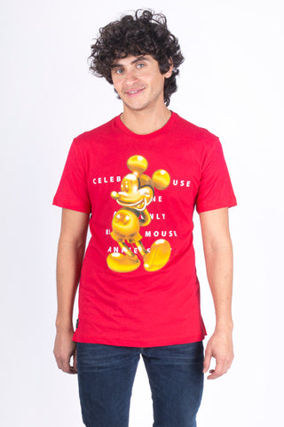 Disney Playera de Mickey Mouse Color Rojo de Caballero