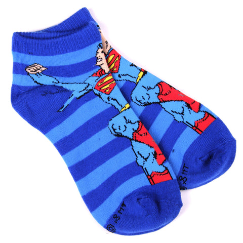 DC Comics Calcetines Superman Pose Rayas Azul