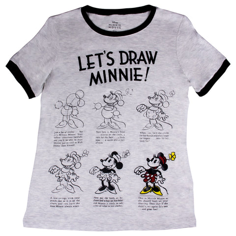 Disney Playera Let´s Draw Minnie! Blanco Jaspe Mujer
