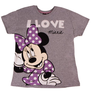 Disney Pijama / Short Minnie Mouse I LOVE Gris/ Rosa Mujer